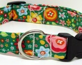 Kelly Green Floral Printed Handmade Dog Collar