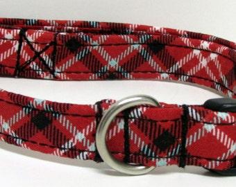 Red, Black, Grey/Gray and White Plaid Handmade Dog Collar