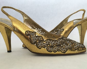 Rene Caovilla Gold Jeweled Pumps Size 8.5