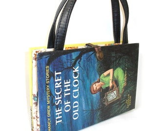 Book Purse Nancy Drew The Secret of the Old Clock Handbag Upcycled Book Bag Trendy Vintage Book Purse