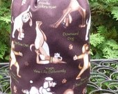 Dogs Knitting project bag, WIP bag, drawstring bag, stuff sack, Yoga Dogs, Suebee