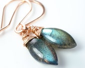 Labradorite Smooth Marquise Gemstone Pink Gold Earrings
