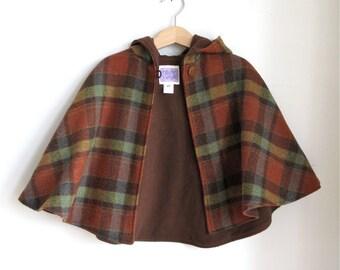 Rust Tartan Plaid Wool Hooded Children's Cape - Boy Girl Baby Toddler Kids | Sizes Newborn to Kid 10 - Cape, Cloak, Coat, Jacket, Hoodie