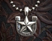 NEW - Lucky Bastard Pendant  in Sterling Silver, Horseshoe, lone star, cowboy - Gift -