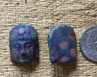 One Iridescent Matte Raku Buddha Head Bead