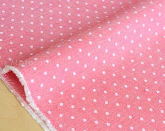 Japanese Fabric - chambray polka dots  - pink - 50cm