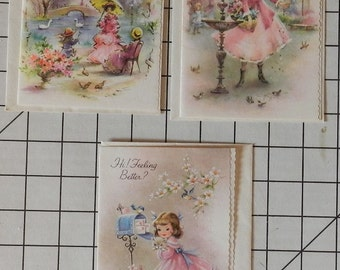 Beautiful Unused Vintage Antique Card set with envelopes 3 Get Better Soon cards with old fashioned girls in pink, one with sparkle