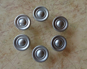 Set of 6 New Nickel Stainless Steel Finish Round Cabinet Knobs Pulls #502-135