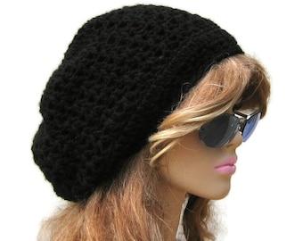 Slouchy hat, Black slouchy beanie, Zig Zag small Dread Tam hat, small Dreadlock Hat, womens Slouchy Beanie, mens slouch beanie hat/black hat
