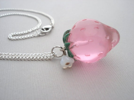 Pink Strawberry Lucite Charm Necklace