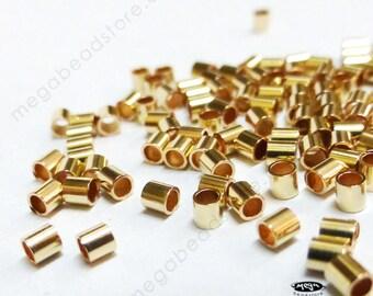 50 pcs 14/20 Gold Filled Crimp Bead Tube Spacer 2x2mm F32GF
