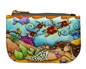 Mermaid Mom and Child Print Fabric Bag Zipper Fully Lined Art Coin Purse