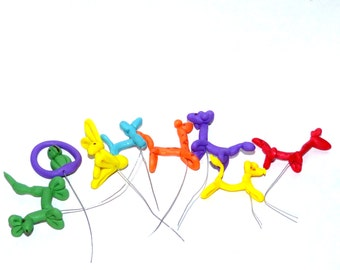 Miniature whimsy set of 3 randomly pick balloon animals  dollhouse miniature terrarium mini  graden accessory