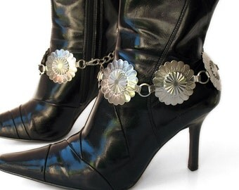 Silver Flower Concho Metal Boot Chains Ankle Bracelet Boot Jewelry, EcoFriendly, Handmade from Recaimed Belts, Made in USA, OOAK