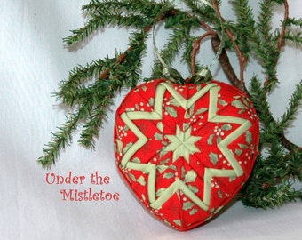 Heart Shaped Quilted Christmas Ornament Kit - Under The Mistletoe