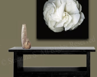 ORIGINAL Photography White Flower Blossom Art Large Giclee Canvas PRINT Home Decor Wall Art Black and White Modern Contemporary Art ~Susanna