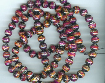 8mm DrawBench Black Red and Yellow Glass Round Beads Long Strand