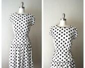 1980s day dress /polka dot secretary dress (s-m)