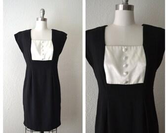 1980s bib secretary little black tuxedo dress (s-m)