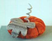 Fall Decor, Vintage Velvet Pumpkin, Autumn, Dark Orange, Recycled Wool, Adjustable Wire Stem, Lana Manis / Honeysuckle Lane