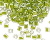 4mm cube bead Miyuki clear color-lined lime green (2782) 4mm cube seed bead clear with lime green lining green seed beads 4mm cube bead