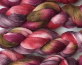 Handpainted Merino Wool and Kid Mohair Roving in Cabernet by Blarney Yarn