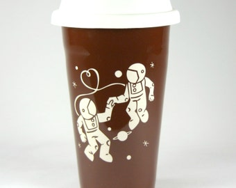 SALE - Astronaut Love Travel Mug - BROWN insulated ceramic to-go cup - love in space