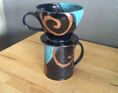 Coffee dripper, pourover filter holder and pottery mug set, coffee mug, handmade mug