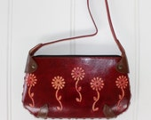 Embossed Leather Purse - Small Handbag - Red Flowers
