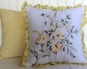 Pair of Pillows - Yellow Check and Rose Bouquet - Botanical - Cottage Chic - Embroidery - Ruffle Edge