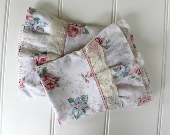 Roses Pillowcases - Pink Blue with Lace Ruffle Edge - Standard Size - Pair