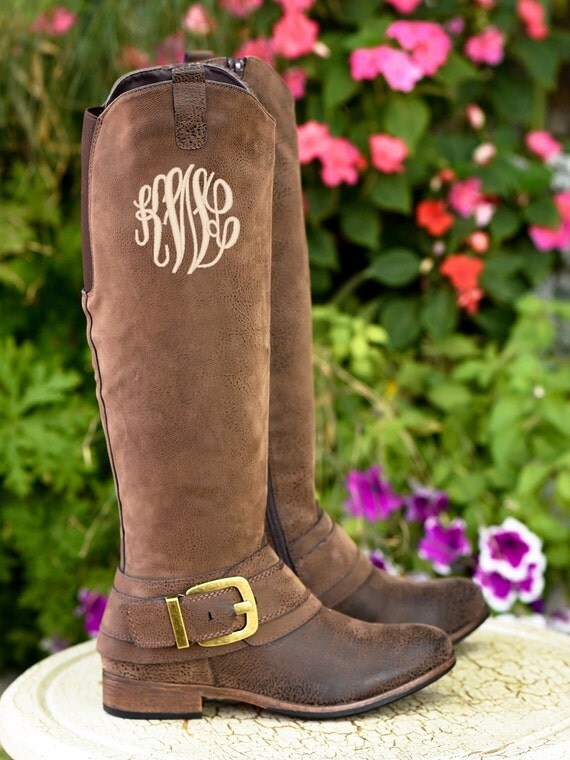 Monogrammed Boots In Master Circle Font By Somethingyougifts