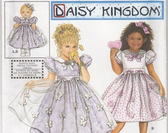 Simplicity 9039 Daisy Kingdom Toddler and Child Dress Apron and 18 inch Doll Dresscut Szs 1/2-1-2