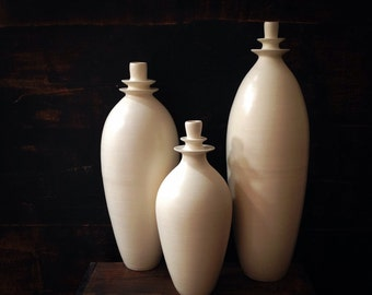 MADE TO ORDER- set of 3 large double flanged stoneware vases in matte white by sara paloma .  white ceramic vases minimal white decor vase