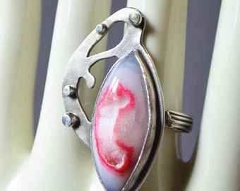 Blister Ring Made With Druzy Quartz Stone