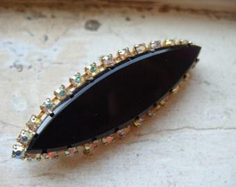 FREE SHIPPING Vintage Black Glass Cat's Eye Brooch Pin with Aurora Borealis Rhinestone Trim