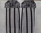 SET OF 2 - Hanging Cloth Top Kitchen Hand Towels - Old Fashion Black and White Handkerchief Print, BLACK and White Nubby Stripe Towels