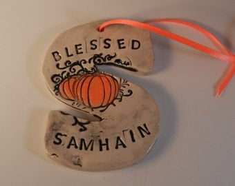S is for Samhain -  black and white ceramic ornament with pumpkin