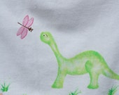 Dinosaur Tshirt for girls, size Small, 6 - 8, hand painted