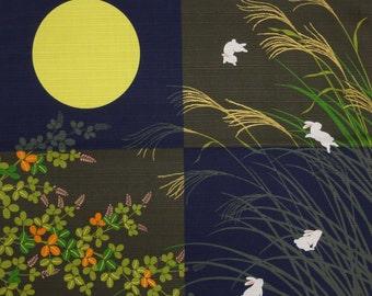 Rabbit Furoshiki Blue Checkerboard Bunny Rabbits Cotton Japanese Fabric 50cm w/Free Shipping