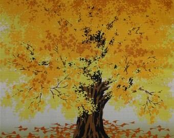 Japanese Fabric Square Furoshiki 'Gingko Tree in Autumn' Cotton 50cm w/Free Shipping
