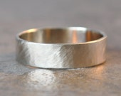 forest ring - size 7.25 - men's wedding band in 14k white gold, organic brushed satin finish