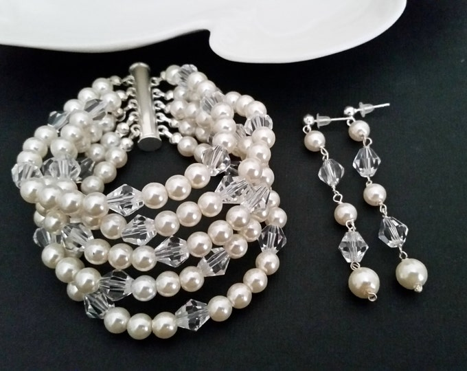 Pearl and Crystal Bracelet with Long Wedding Earrings