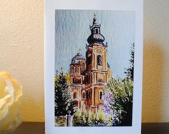 Bosnian Church Watercolor Print Notecard