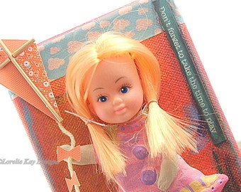 Play Mixed Media Painting Retro Art Doll Picture Decoration Doll Art Whimsical Picture