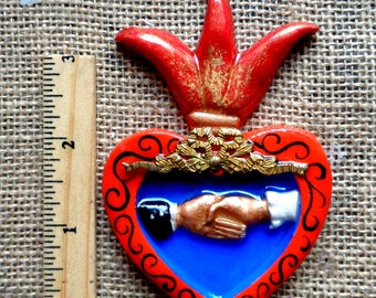 bride and groom flaming heart cab