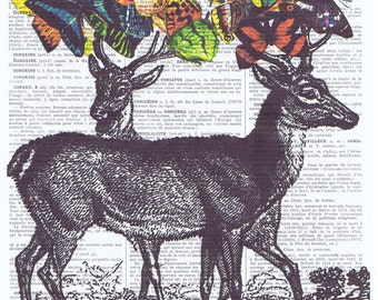 Deer,Butterflies.Collage.Fantasy. Antique Book Pages Print, handmade gift.home decor,vintage,retro.french.valentines day