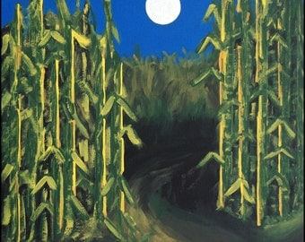 Halloween painting Harvest Corn Maze Autumn ready to hang painted on wood measures 12 x 12