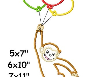 Monkey Balloons Machine Embroidery Applique Digital Patterns 5x7 6x10 7x11 INSTANT DOWNLOAD