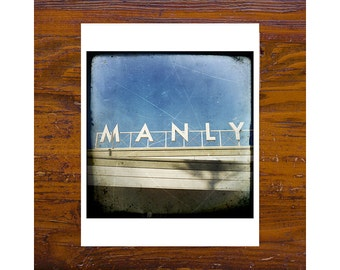 8x8 Print [JCP-099] - Manly Words on the wharf - blue, white, words, australia
